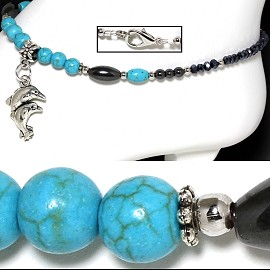 "9.5"" Anklet Earth Stone Beads Dolphin Turquoise Black AKT47"