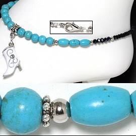 "9.5"" Anklet Earth Stone Beads Cowboy Boot Turquoise Black AKT49"