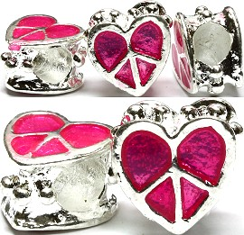 3pcs Charms Heart Peace Sign Hot Pink BD1021