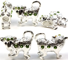3pc Charm Monkey Silver White Rhinestone Green Screw BD1037
