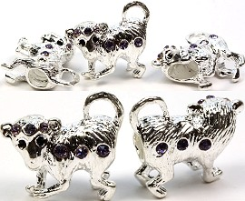 3pc Charm Monkey Silver White Rhinestone Purple Screw BD1038