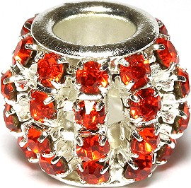 1pc Charm Rhinestone Round 12x10mm Orange BD1122