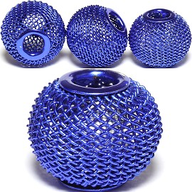4pcs Mesh Beads Metal Link 16x13mm Blue BD1126