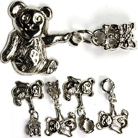 5pc Charm Teddy Bear Silver Gray BD1130