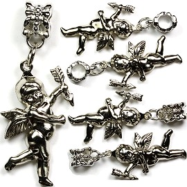 5pcs Charms Cupid with Arrow Silver BD1133