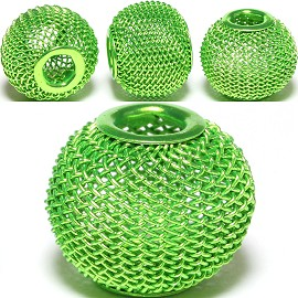 4pcs Mesh Beads Metal Link 16x13mm Lime Green BD1137