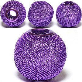 4pcs Mesh Beads Metal Link 20mm Purple BD1153