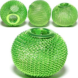 4pcs Mesh Beads Metal Link 20mm Lime Green BD1166