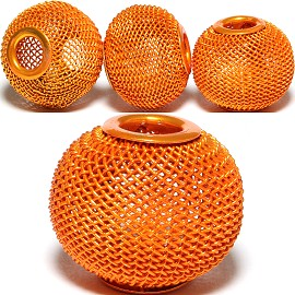 4pcs Mesh Beads Metal Link 20mm Orange BD1172