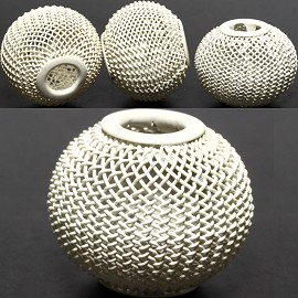 4pcs Mesh Beads Metal Link 20x17mm White BD1185