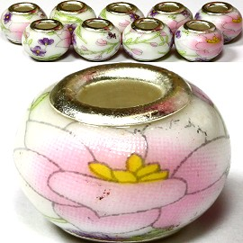 8pcs Ceramic Bead Flower White Pink BD1222