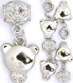 5pc Charm Teddy Bear Big Face Silver BD1297