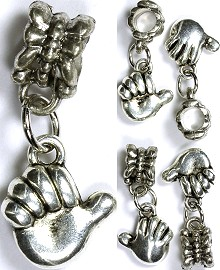 5pc Charm Hand Thumb Up Silver BD1310