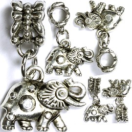 5pcs Charm Elephant Artifact Silver BD1325