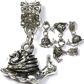 5pcs Charm Snail Silver BD1336 - Click Image to Close