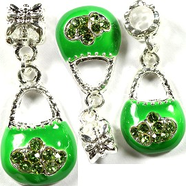 3pcs Charms Purse Rhinestone Green BD1373