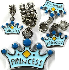 4pc Charms Tiara Crown Princess Sky Blue BD1378