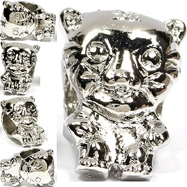 5pcs Charms Big Tiger Head Costume Silver BD1396
