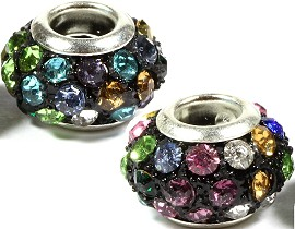 2pcs Beads Black Silver Multi Colored Rhinestones BD1430