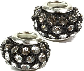2pcs Beads Black Silver Clear Rhinestones BD1431
