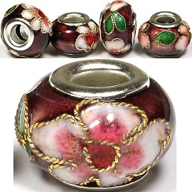 3pcs Beads Cloisonné Purple BD1457