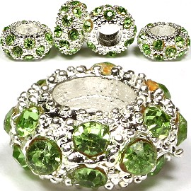 3pcs Charms Round Crystals Apple Green BD1465