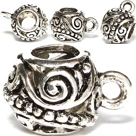 4pc Charm Round Silver BD1526