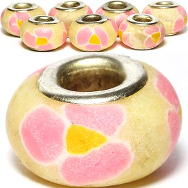 8pc Soft Clay Bead Flower Cream Pink BD1568
