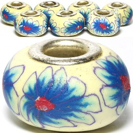 8pc Soft Clay Bead Flower Cream Blue BD1570