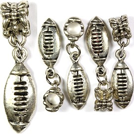 5pcs Charm Football Silver BD1677