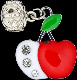 3pc Charm Apple Crystals Red White BD1679