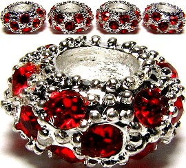 Beads 3pcs Charms Pack Silver Red BD169