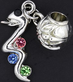 3pc Charm Snake Rhinestone Silver Multi Color BD1716