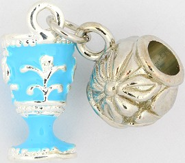 3pc Charm Royal Cup Silver Blue BD1746