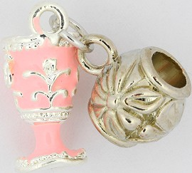 3pc Charm Royal Cup Silver Pink BD1747