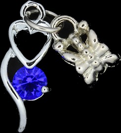 4pc Charm Heart Outline Rhinestone Silver Blue BD1766