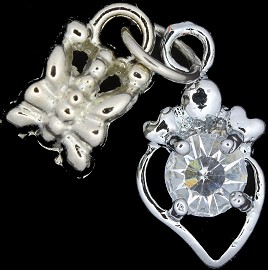 4pc Charm Heart Outline Rhinestone Silver BD1769