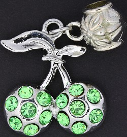 3pc Charm Cherry Rhinestone Silver Green BD1786