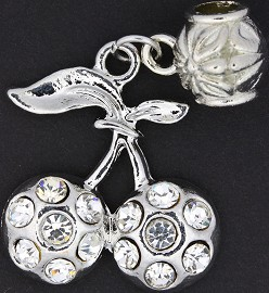 3pc Charm Cherry Rhinestone Silver Clear BD1787