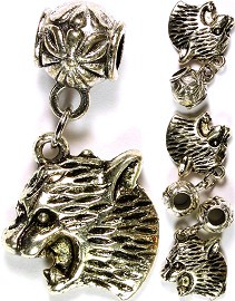 4pcs Charms Leopard Head Silver BD1792