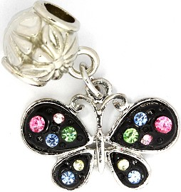 2pc Charm Butterfly Rhinestone Black Multi Color BD1834