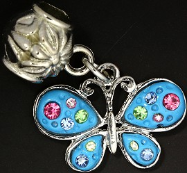 2pc Charm Butterfly Rhinestone Sky Blue Multi Color BD1835