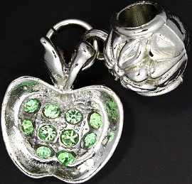 3pc Charm Apple Rhinestone Silver Green BD1865