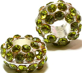 2pcs Charms Rhinestones Silver Apple Green BD1887