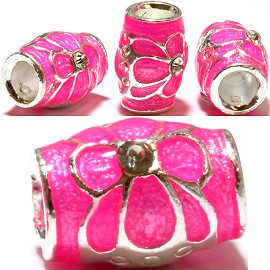 3pcs Charms Round Rhinestones Clear Hot Pink BD1894