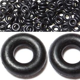 100pcs Stoppers Flexible Silicone Ring Black BD1900