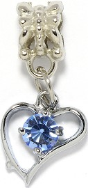 4pc Charm Heart Outline Rhinestone Silver Light Blue BD1929