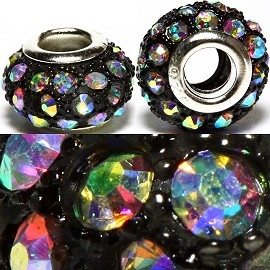 2pcs Beads Rhinestone Black Multi Color Aura Dark BD1939