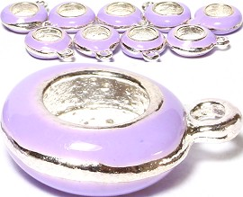 10pcs Charms Round w/ Hole for Chain Lavender BD1980