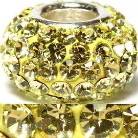 1pc Luxury Rhinestones Bead 11x6mm Yellow BD2013